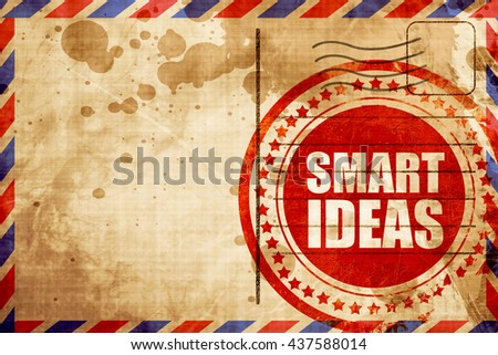 smart ideas, red grunge stamp on an airmail background - stock photo