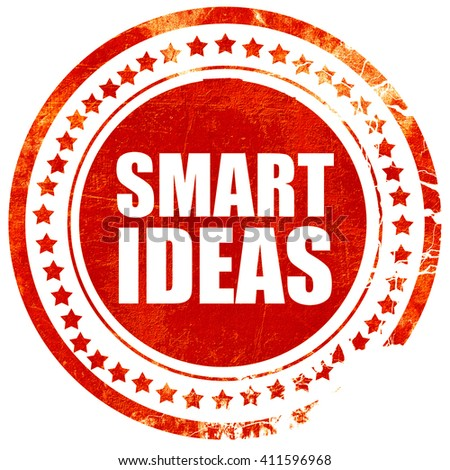 smart ideas, red grunge stamp on solid background - stock photo
