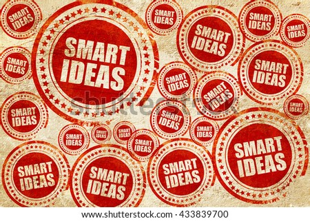smart ideas, red stamp on a grunge paper texture - stock photo