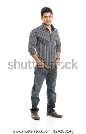 Smart Indian young man against on white background. - stock photo