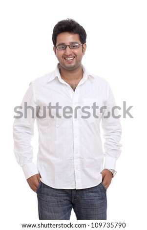 Smart Indian young man posing with expression on white background. - stock photo