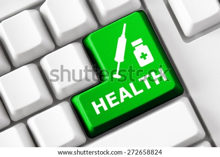 Smart keyboard and color button with medicine image. Health care concept. - stock photo