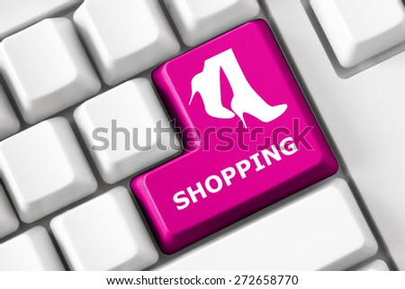 Smart keyboard and color button with shopping image - stock photo