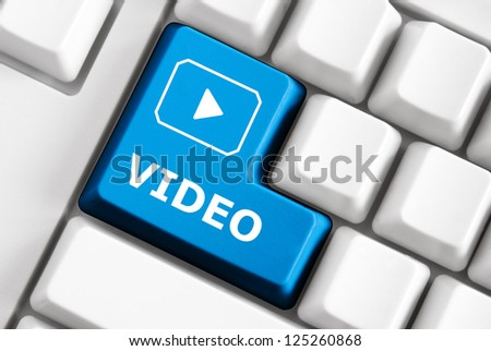 Smart keyboard with color button, image and text - stock photo