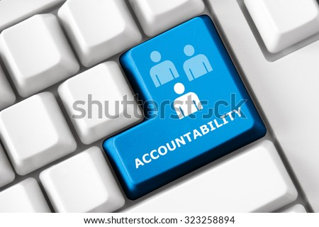 Smart keyboard with personal efficacy symbol set. Accountability, productivity and success concept. Design elements of corporate management, business efficiency. Collection of personal efficacy signs