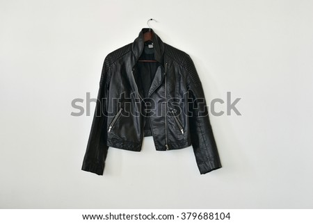 Smart leather jacket isolated on white wall background, with lot of empty space for text - stock photo