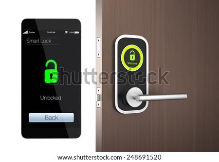 Smart lock concept with clipping path. original design - stock photo