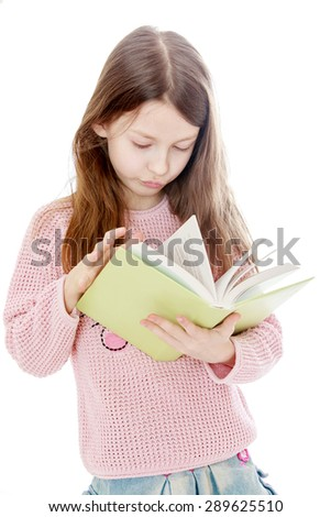Smart long-haired girl reading a book, close-up - isolated on white background - stock photo