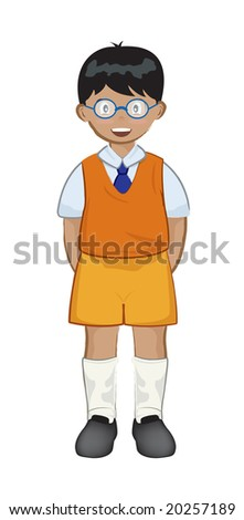 smart looking Indian child with shirt vest and tie