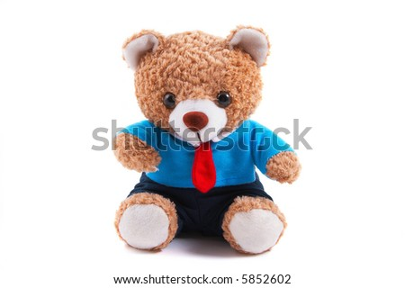 Smart looking toy bear (non-branded) in shirt and tie. Business, office, smart attire suit. - stock photo