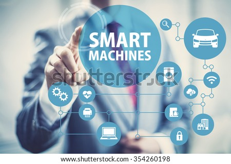 Smart machines concept image of intelligent devices and network. - stock photo