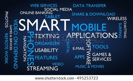 Smart, mobile, applications word tag cloud, blue, English variant
