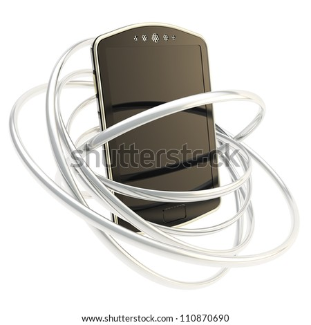 Smart mobile phone concept surrounded with chrome metal glossy rings isolated on white