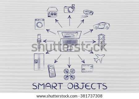 Smart objects: laptop and internet of things (Please note: credit card intentionally designed with unmatchable shorter than usual number ending in -X) - stock photo