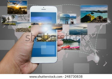 Smart phone and application travel.