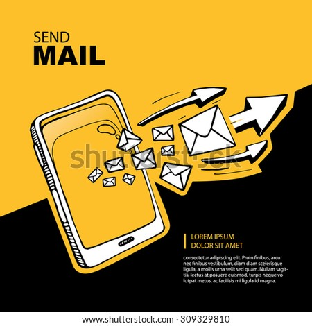 Smart phone and envelope - sms and mail concept picture. Hand drawn series of the flying letters with arrows to right direction. Yellow Background with place for your text - stock photo