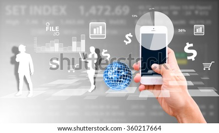Smart phone and graph icon - stock photo