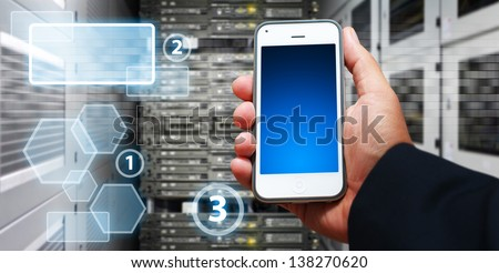Smart phone and icon control to server  - stock photo