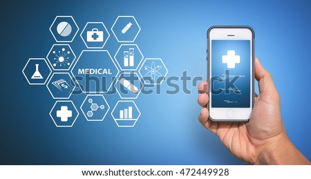 Smart phone and medical icons
