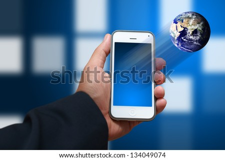 Smart phone and world connect : Elements of this image furnished by NASA