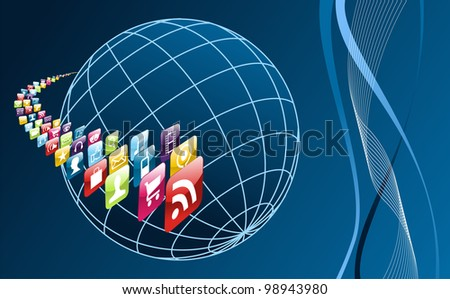 Smart phone application icons arrownd the world  on blue background. - stock photo