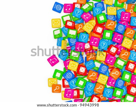 Smart Phone Application Icons on white background with place for your text - stock photo