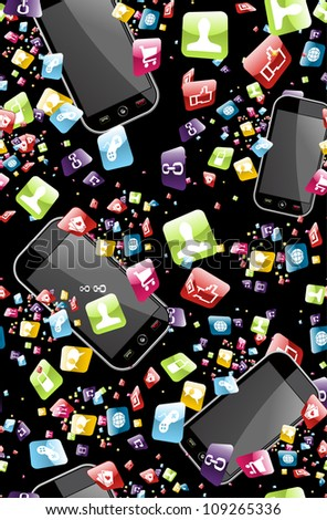 Smart phone application icons seamless pattern background.