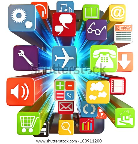 Smart phone apps,touchscreen smartphone with application software icons extruding from the screen, isolated in white - stock photo