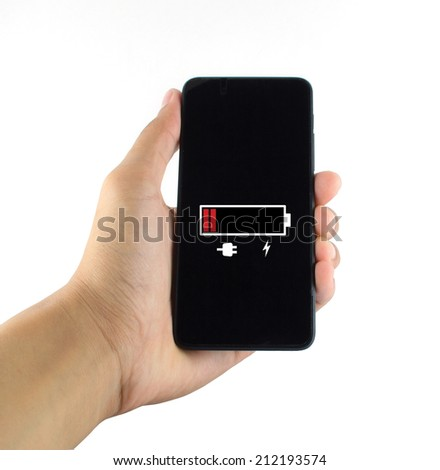 smart phone battery low white background - stock photo