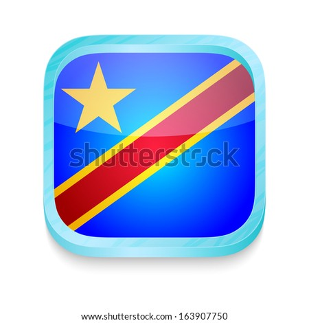 Smart phone button with Democratic Republic of Congo flag - stock photo