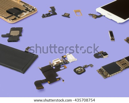 Smart phone components isolate on purple background with copy space