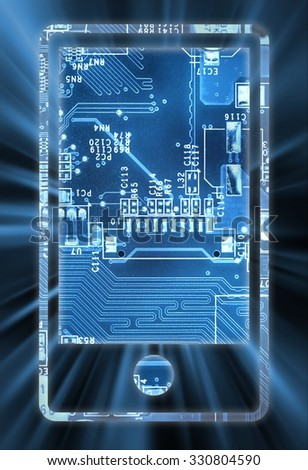 Smart phone concept with lock in electronic circuit      - stock photo