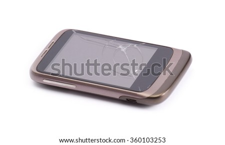 Smart phone drop to the floor and screen damage broken isolated on white background