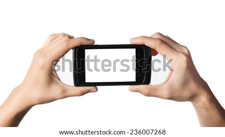 smart phone, in hand isolated on white