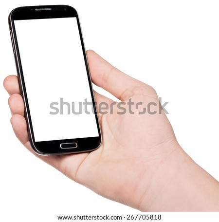 Smart-phone in hand isolated on white background - stock photo