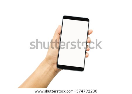 smart phone in hand isolated on white background - stock photo