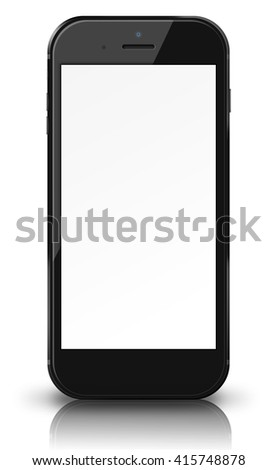 Smart phone in iphon style with blank screen, shadows and reflections isolated on white background. 3D illustration.