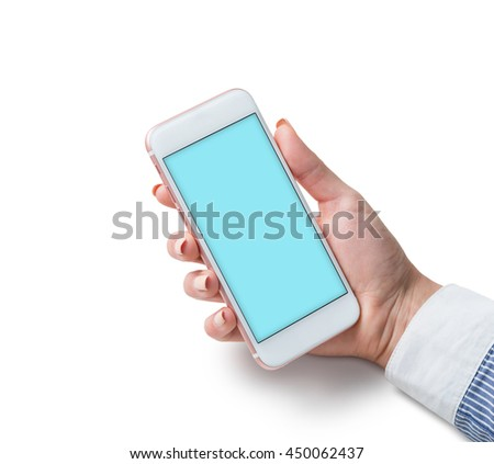 Smart phone in woman's hand with isolated background. Clipping path included.