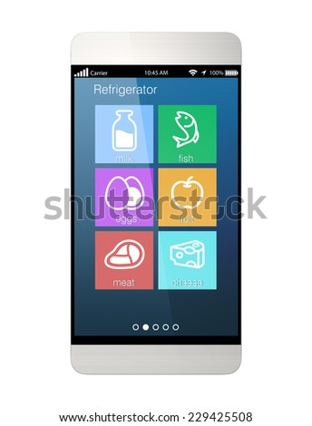 Smart phone interface showing food information from refrigerator - stock photo