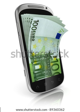 smart phone money earning 3d concept - stock photo