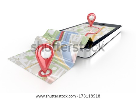 smart phone navigation - mobile gps 3d illustration - stock photo