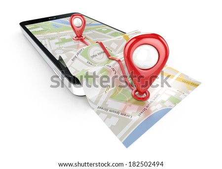smart phone navigation - mobile gps 3d illustration - stock photo