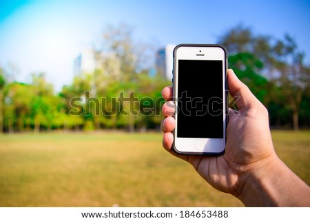 Smart phone on the hand - stock photo