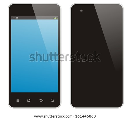 Smart phone on white background.front and back side. - stock photo