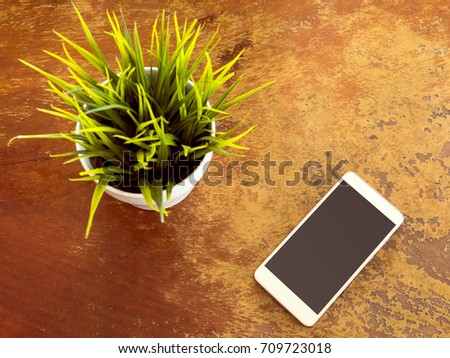 smart phone on wood table with green tree in small pot