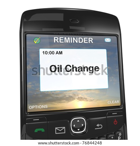 Smart phone reminder, oil change - stock photo