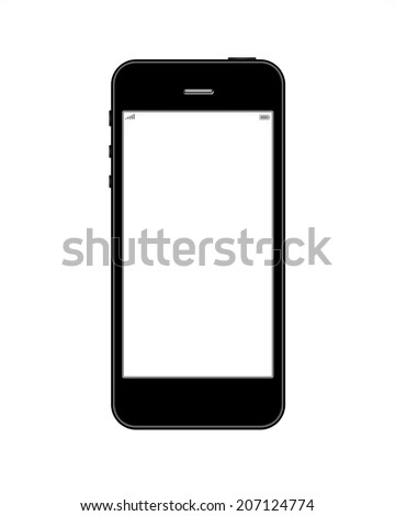 Smart phone similar to iphone on a white background - stock photo