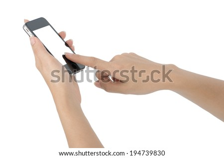 Smart phone touch screen isolated on white with clipping path.