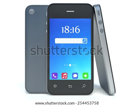 smart phone with abstract background isolated on white - stock photo