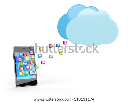 smart phone with app icons and cloud - high quality 3d illustration - stock photo